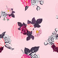 Vintage floral seamless pattern with monochrome and colored wild roses and circles with grungy textures on pink