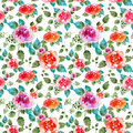 Vintage floral seamless pattern with rose flowers and leaf. Print for textile wallpaper endless. Hand-drawn watercolor Royalty Free Stock Photo