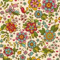 Vintage floral seamless pattern vector texture with flowers and birds Royalty Free Stock Image