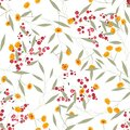 Vintage floral textile print and small ditsy elements, isolated feminine vector illustration. Retro wild hand drawn seamless