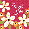 Vintage floral Thank You card template