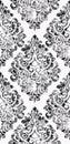 Vintage flourish ornament pattern Vector. Victorian Royal texture. Flower decorative design vertical. Black color decors