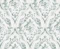 Vintage flourish ornamented pattern Vector. Victorian Royal texture. Flower decorative design. Light green color decors