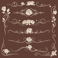 Vintage flourish ornaments with roses