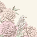Vintage flower background with bird Royalty Free Stock Photo