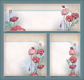 Vintage flower banners different layout set floral banners postcards pink red drawing poppies halftone elements background subtle Stock Images