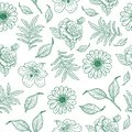 Cool vintage flower illustration pattern