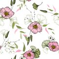 Vintage flowering background. Hand-sketched wallpaper. Vector illustration. Trendy floral pattern with pink wild flowers. Seamless