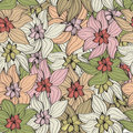 Vintage flowers seamless background pattern of arrangements of beautiful in muted pastel shades Stock Image