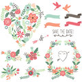 Vintage Flowers Wedding Heart Elements