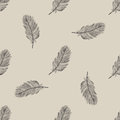 Vintage flying feather seamless pattern