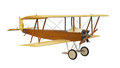Vintage flying machine isolated early biplane on white Stock Image