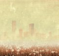 Vintage foggy city skyline with dandelion Royalty Free Stock Photo