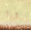 Vintage foggy city skyline with dandelion Royalty Free Stock Photo