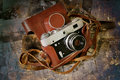 Vintage folding camera grunge Stock Images