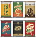 Vintage food cans Royalty Free Stock Photo