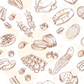 Vintage food set seamless pattern hand drawn Stock Photos