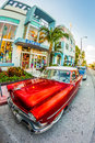 Vintage ford car parks in the art deco district in miami florida usa july classic on july beach life south beach is one Royalty Free Stock Photos