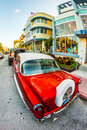 Vintage ford car parks in the art deco district miami usa july classic on july miami beach florida life south beach is one Stock Image