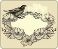 Vintage frame with bird and blooming roses. Vector Royalty Free Stock Images