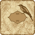 Vintage frame with blooming lilies and birds, hand Stock Images