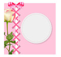 Vintage Frame with Bow, Ribbon and Rose Folwer Royalty Free Stock Photo