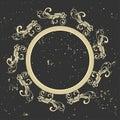 Vintage frame. Circular baroque pattern. Round floral ornament.Greeting card. Wedding invitation. Retro style. Vector logo templat