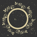 Vintage frame. Circular baroque pattern. Round floral ornament.Greeting card. Wedding invitation. Retro style. Vector logo templat Royalty Free Stock Photo