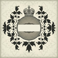 Vintage frame with crown the vector image Royalty Free Stock Image