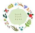 Vintage frame with flowers made of branches leaves cones Royalty Free Stock Photos
