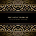 Vintage frame with gold borders background ornamental seamless golden over pattern Royalty Free Stock Images