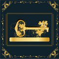 Vintage frame with gold key Royalty Free Stock Photo