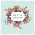 Vintage frame hand drawn with roses all elements polka dot background roses are located on separate layers and can be used Royalty Free Stock Photography