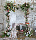 Vintage frame made from flowers, leaves with the grunge backgrou Royalty Free Stock Photo
