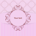 Vintage frame with place for your text on pink background with pattern and stripes. Royalty Free Stock Photo