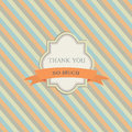 Vintage frame with red ribbon on bright retro pattern background thank you so much Stock Photo