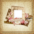 Vintage frame with rose petals and seashells Stock Photos