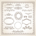 Vintage frame set classic old style vector Stock Photos