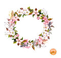 Vintage frame - wreath in boho style. Feathers and flowers cherry, apple flower blossom.