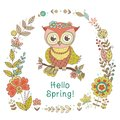 Vintage frame for your design with lovely owl