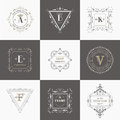 Vintage frames and banners vector set calligraphic design elements monograms Royalty Free Stock Photos
