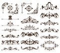 Vintage frames, corners, borders with delicate swirls in Art Nouveau for decoration and design works with floral motifs vintage st