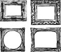 Vintage frames vector drawing of a different old hand drawn Royalty Free Stock Image