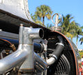 Vintage french racer radiator fan and water temp gauge s bugatti type Stock Photography