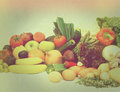 Vintage fruit and vegetables with retro effect large display of various a Stock Photo