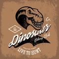 Vintage furious dinosaur bikers gang club tee print vector design Royalty Free Stock Photo
