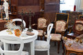 Vintage furniture for sale in a flea market Stock Photos