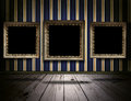 Vintage gallery background with old victorian frames Royalty Free Stock Photo