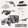 Vintage gangster set Royalty Free Stock Photo