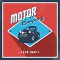 Vintage Garage Background. Old Retro Pick-up Truck